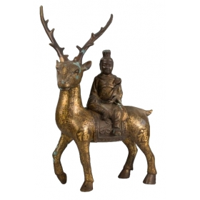 Ciervo con buda sentado chino de bronce damasquinado s.xix-xx