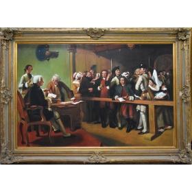Oleo pintado a mano sobre lienzo de 120cm de algo y 165cm de largo con marco c1013