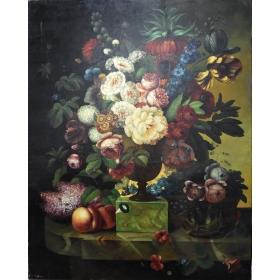Oleo pintado a mano sobre lienzo con marco c1002