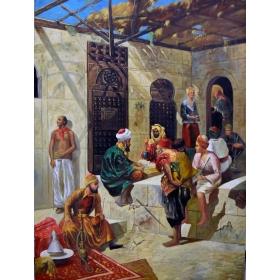 Cuadro orientalista representando escena tipica de época