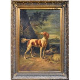 Perro cazador sobre paisaje