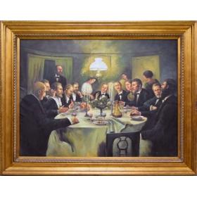 Oleo pintado a mano sobre lienzo con marco c1005