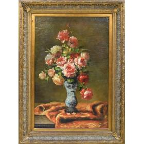 Óleo sobre tabla. jarrón de cerámica con flores.