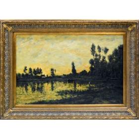 Oleo pintado a mano sobre tabla de acabado craquele con marco c1009