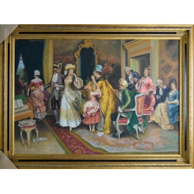 Oleo pintado a mano sobre lienzo con marco c1004
