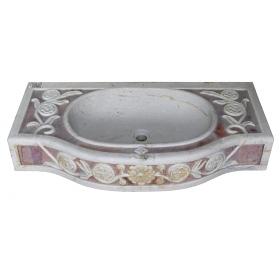 Lavabo de marmol con incrustaciones