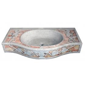 Lavabo de marmol estilo antiguo con incrustaciones de marmol de diferente color