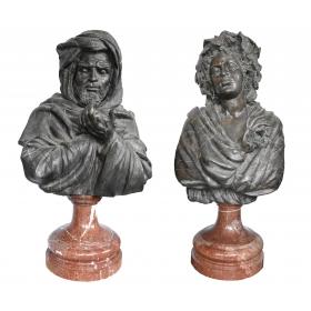 Pareja bustos mujer y hombre de bronce