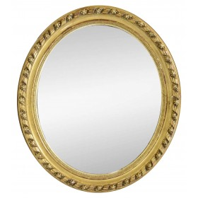 Espejo ovalado con marco dorado