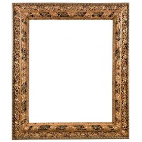 Excepcional marco de madera tallada, dorada, policromada y calada. Siglo XIX
