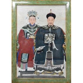 Gran cuadro de pareja de emperadores chino con marco verde