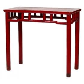 Consola china de patas rectas lacada en rojo