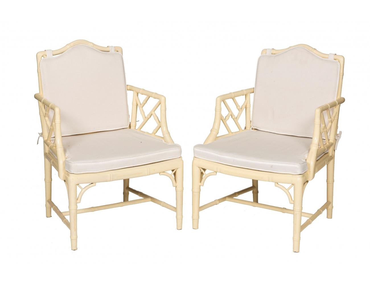 Pareja de sillones de gusto oriental simulando bamb con - Sillones de bambu ...