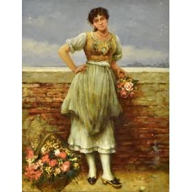 Retrato de campesina de la época