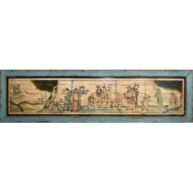 Cartel chino realizado en madera con escena costumbrista
