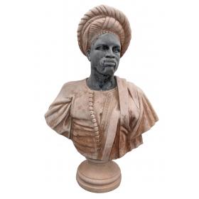 Busto de negro de sudán realizado en varios tipos de mármol