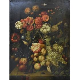 Cuadro de bodegón de frutas y flores