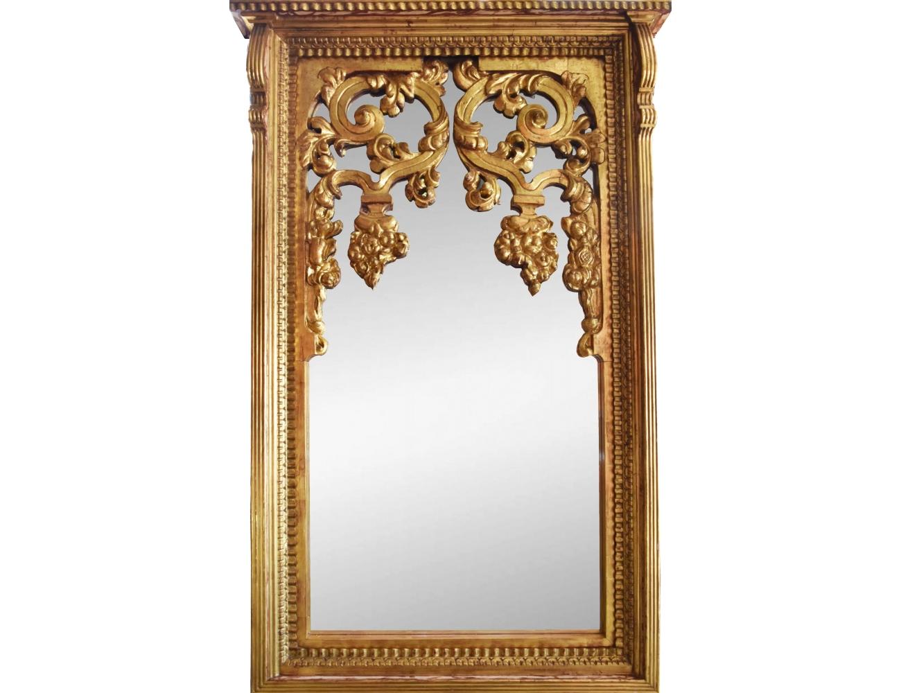 Gran espejo con marco de madera dorado for Espejos decorativos marco de madera