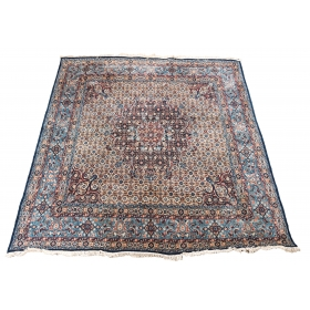 Alfombra persa de lana de campo azul