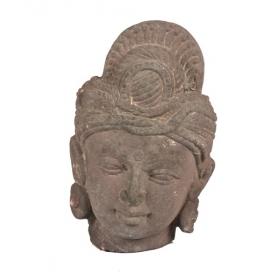 Cabeza de deidad de piedra esculpida, India S.XIX - XX