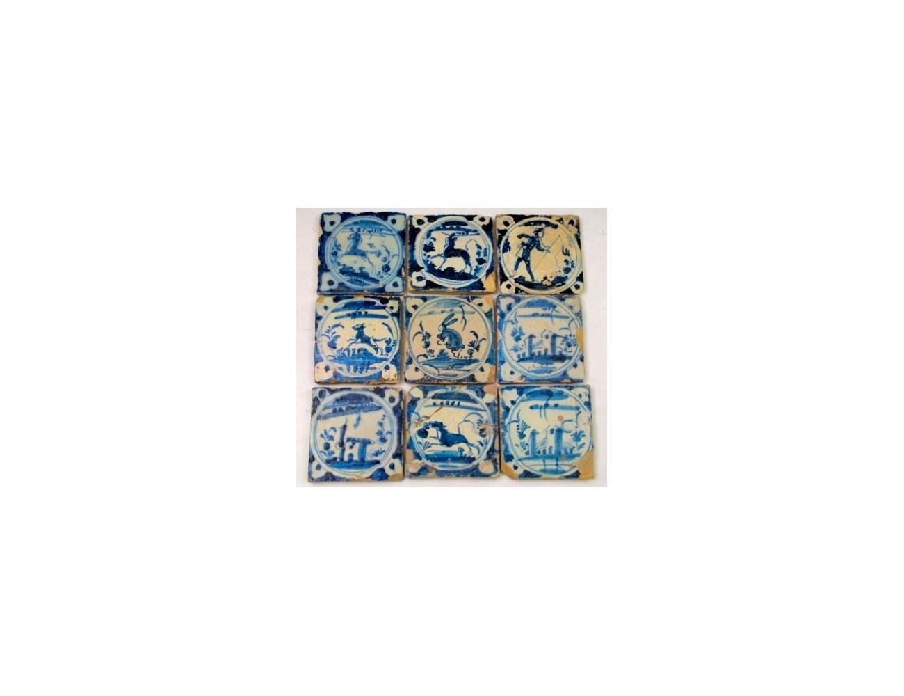 Nueve Azulejos Sevillanos De Esmalte Azul Y Blanco Con Motivos De A  # Muebles Sevillanos