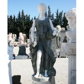 Escultura de marmol tallada a mano realizada en marmol verde y blanco