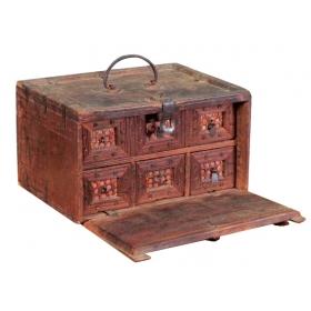 Pequeño escritorio con tapa abatible, trabajo indio del s.xvii - xviii