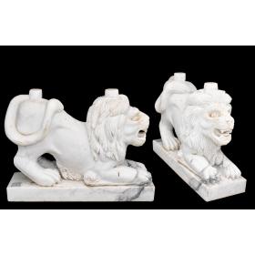 Pareja de pies de mesa realizados en mármol con forma de león