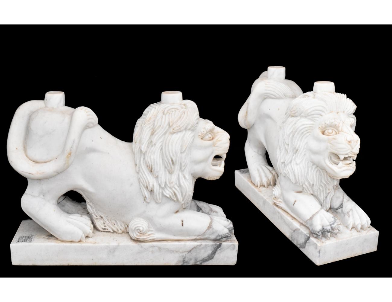 Pareja de pies de mesa realizados en m rmol con forma de le n - Pies de mesa de marmol ...