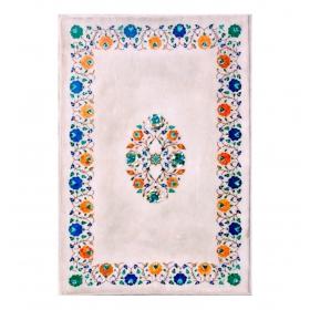 Tablero de mesa de café en mosaico de turquesas, lapislazuli, amatista, malaquita y otras piedras duras