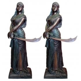 Pareja de mujeres de bronce estilo árabe