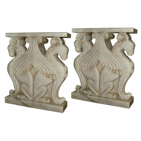 Pareja de pies de mesa ornamentales tallados en mármol blanco de Carrara
