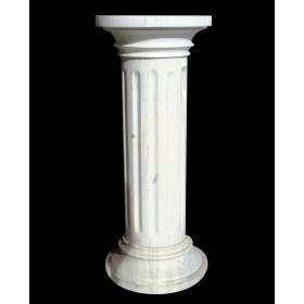 Peana de mármol blanco acanalada