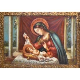 Cuadro religioso con Virgen y niño Jesús con marco dorado