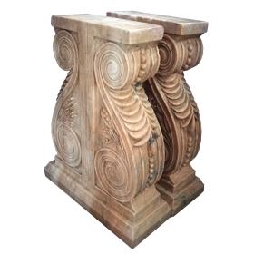 Pareja de pies de mesa realizados en mármol