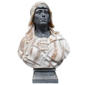 Busto de mujer realizado en mármol y onix