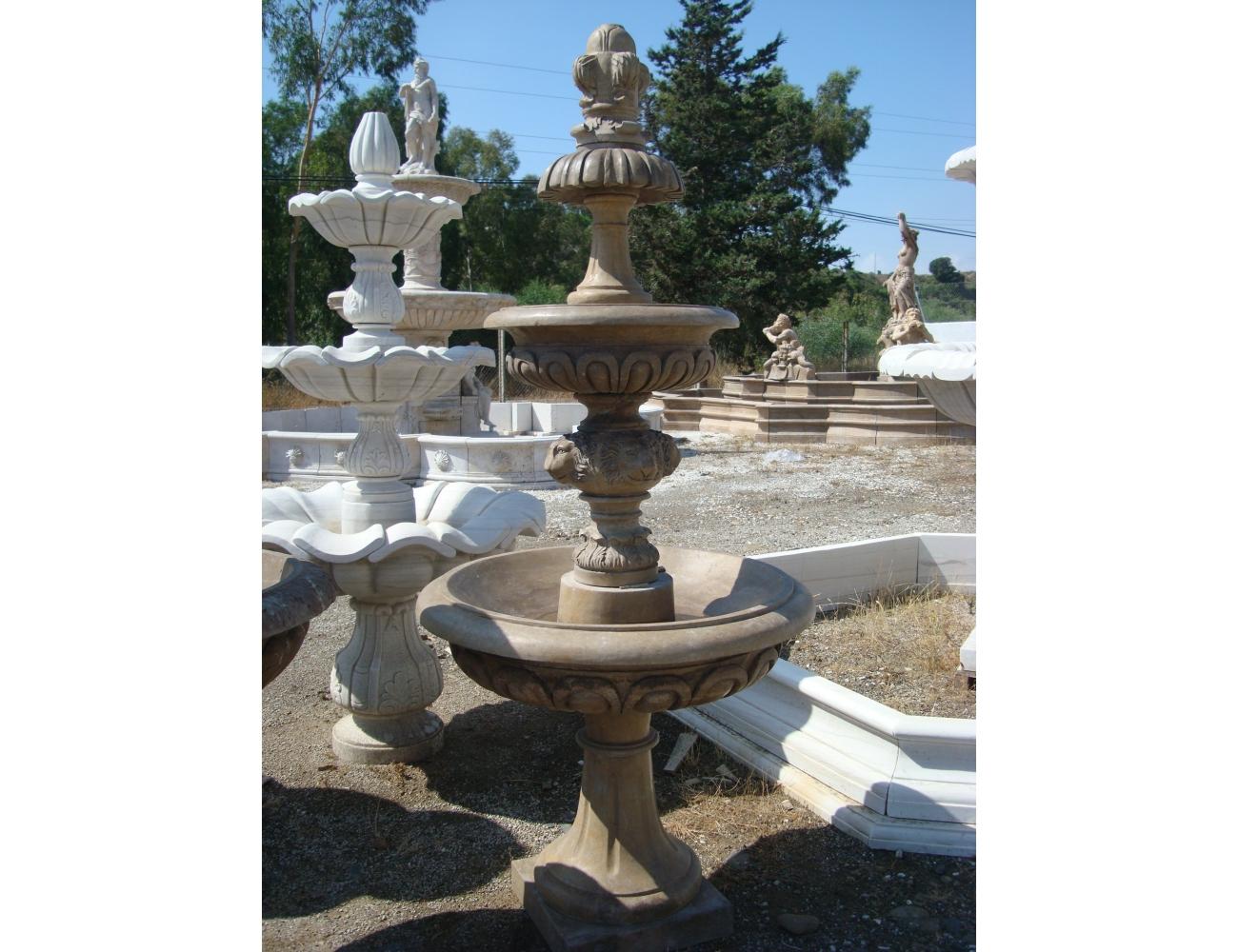 Fuente de m rmol envejecido con dos platos tienda de - Fuentes de marmol para jardin ...