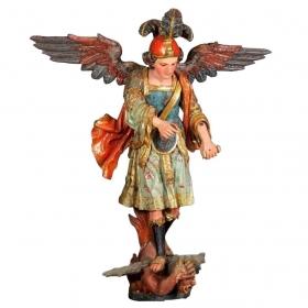 San miguel arcangel de madera tallada, policromada, estofada y dorada, castilla ffs. s.xvii