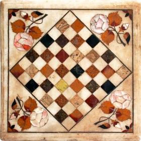 Tablero de ajedrez elaborado en mosaico de piedras duras semipreciosas y mármoles