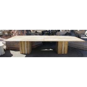 Gran mesa rectangular de mármol travertino