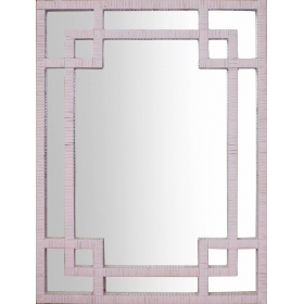 Espejo rectangular de ratán en color rosa