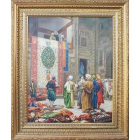 Cuadro orientalista representando escena típica de época