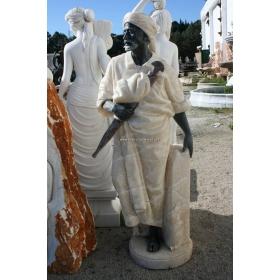 Escultura de arabe realizado a mano en onix y marmol negro