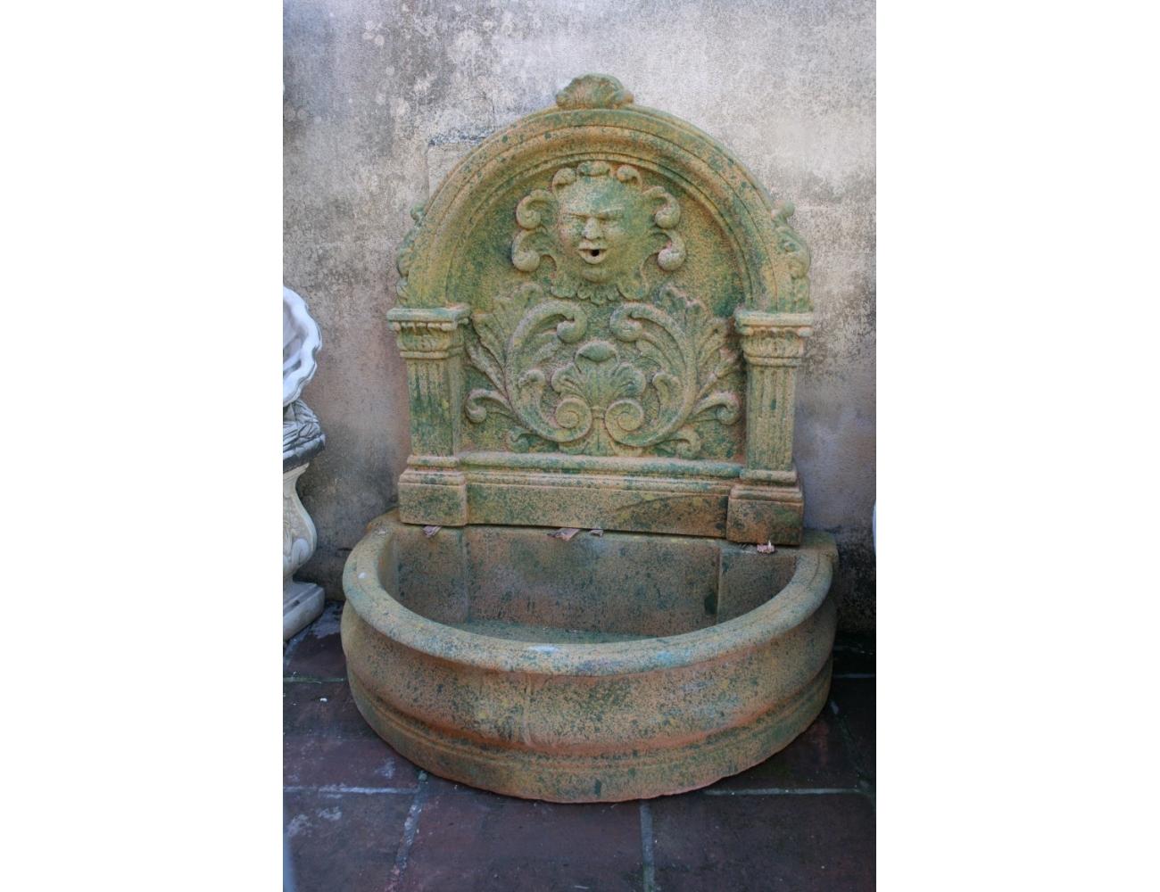 Fuente de pared grande de piedra recompuesta - Fuentes de pared de piedra ...