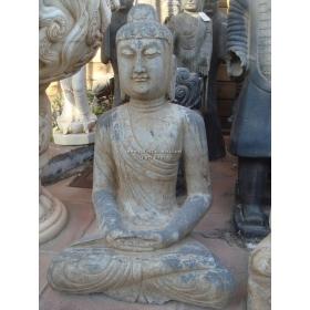 Escultura de piedra oriental mediana con buda sentado