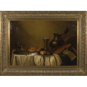 Escena con violin, jarras y platos