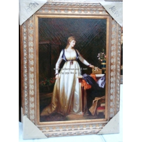 Oleo pintado a mano sobre tabla de acabado craquele con marco c1007