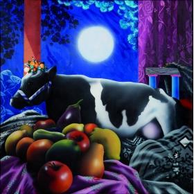 Eduardo urculo: vaca con frutas oleo/lienzo
