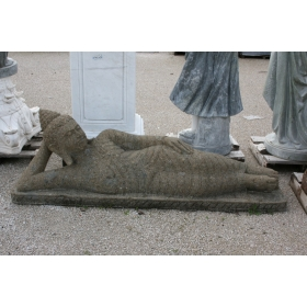 Buda de piedra volcanica tumbado tallado a mano