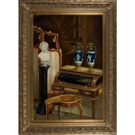 Oleo pintado a mano sobre tabla con marco c1014